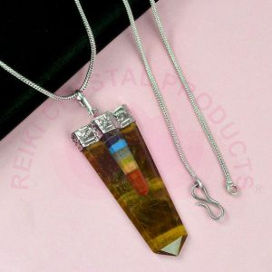 Tiger Eye Bonded Stick Stone Pendant With Silver Polished Metal Chain