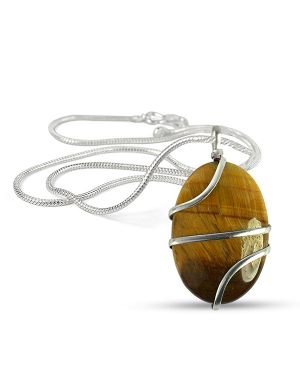 Tiger Eye Oval Wire Wrapped Pendant with Silver Polished Chain