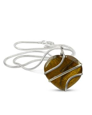 Tiger Eye Heart Wire Wrapped Pendant With Silver Metal Polished Chain