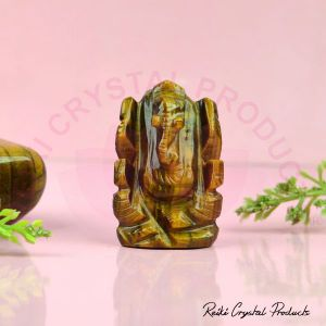 Natural Tiger Eye Crystal Stone Ganesha Idol