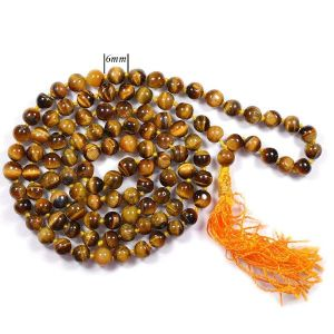 Tiger's Eye 6 mm Round Beads Mala & Necklace ( 108 Beads, 26 Inch  Approx)