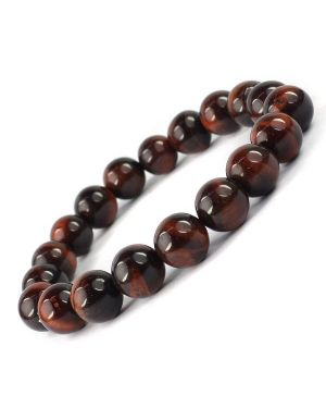 Tiger Eye Red 10 mm  Round Bead Bracelet