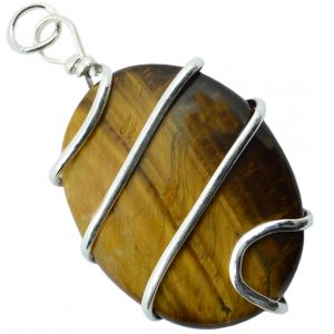 Tiger Eye Oval Wire Wrapped Pendant