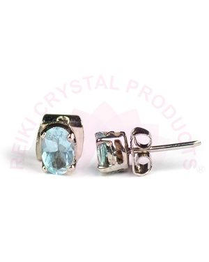 Blue Topaz Silver Stud/Earring Gemstone for Women Girls