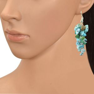 Turquoise Crystal Earrings Natural Chip Beads Earrings for Women, Girls