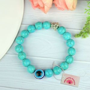 Turquoise with Evil Eye 10 mm Beads Charm Bracelet