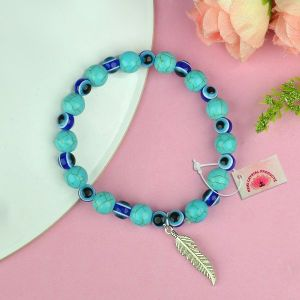 Natural Turquoise with Evil Eye 8 mm Beads Charm Bracelet