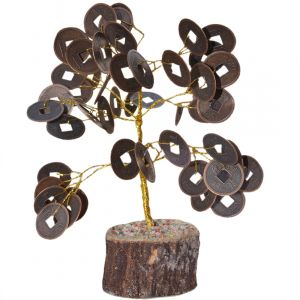 Golden  Coin Tree With Wooden Stand