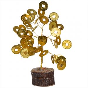Golden Coin Tree  with Wooden Statnd 8 Inch