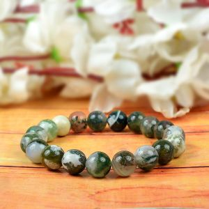 Moss Agate 10 mm Round Bead Bracelet