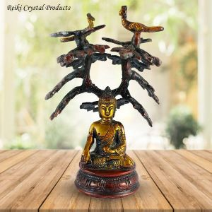 Brass Sitting Tree Lord Buddha Blessing Antique Idol Art Decor Gifts, 15 cm