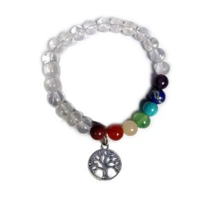Clear Quartz with 7 Chakra Tree of Life Hanging Charm Bracelet
