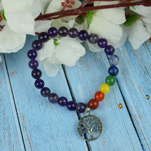 Amethyst Bracelet with Hanging Tree of Life Charm 8 mm Round Beads Bracelet
