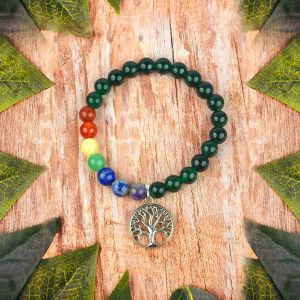 Green Aventurine with 7 Chakra Tree of Life Charm Hanging Bracelet