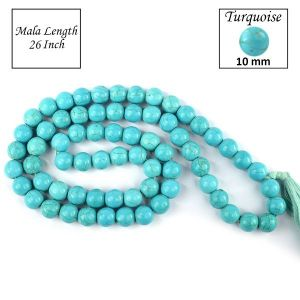 Turquoise Synthetic 10 mm Round Bead Mala