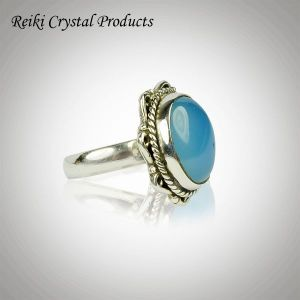 92.5 Silver Ring Chalcedony Gemstone Adjustable Ring for Unisex (Color : Multi)