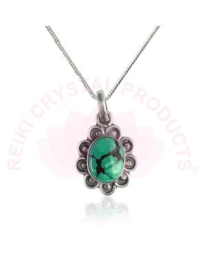 Turquoise Pendant | Firoza Pendant for Unisex (Color : Green & Silver)