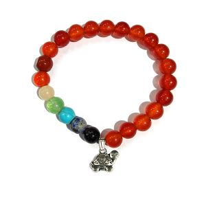 Carnelian Bracelet with Hanging Turtle Charm 8 mm Round Beads Bracelet