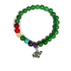Green Aventurine Bracelet with Hanging Turtle Charm 8 mm Round Beads Bracelet