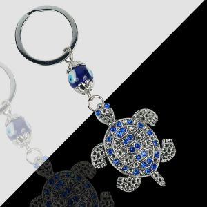 Metal Turtle Tortoise Evil Eye Keychain/Key Ring Good Luck and Prosperity