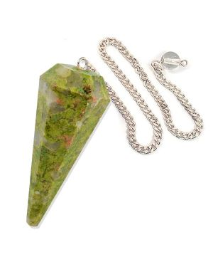 Unakite Six Faceted Dowser / Pendulum
