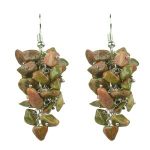 Unakite Crystal Earrings Natural Chip Beads Earrings for Women, Girls (Color :Green)