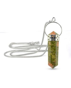 Unakite Double Terminated Pencil Pendant With Silver Polished Metal Chain