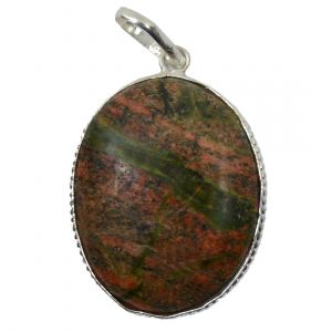 Unakite Oval Shape Pendant with Chain