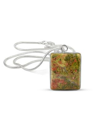 AAA Quality Unakite Square Pendant With Silver Polished Metal Chain