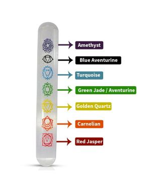 7 / Seven Chakra Symbol Engraved Selenite Massage Wand / Tower Size 6 Inch Approx