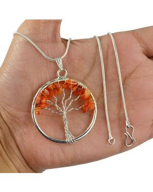 Carnelian Tree of Life Pendant with Silver Polished Metal Chain