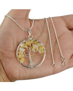 Citrine Tree of Life Pendant with Silver Polished Metal Chain