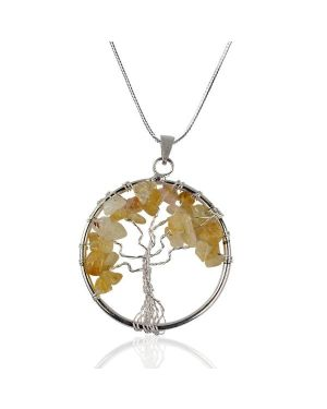 Golden Quartz Tree of Life Pendant with Silver Polished Metal Chain