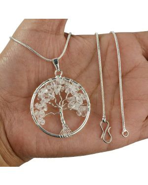 Clear Quartz Tree of Life Pendant with Silver Polished Metal Chain