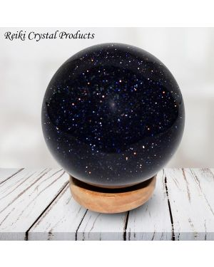 Goldstone Blue Ball / Sphere for Reiki Healing / Grid and Vastu Correction