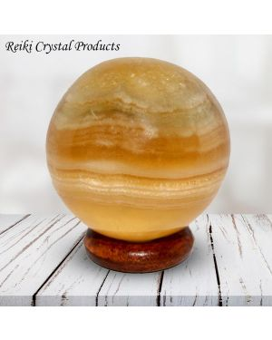 Yellow Fluorite Ball / Sphere for Reiki Healing / Grid and Vastu Correction