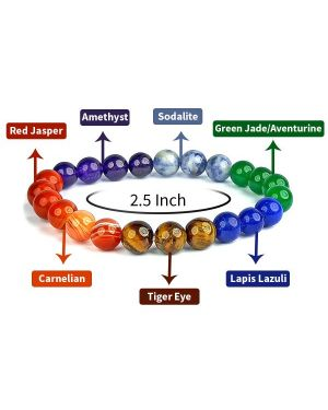 7 Chakra with Tiger Eye 8 mm Round Bead Bracelet