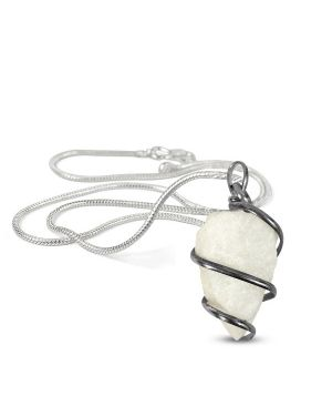White Agate Natural Wire Wrapped Pendant with Silver Metal Polished Chain