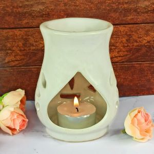 Ceramic Tea Light Candle Aroma Oil Diffuser/Burner with 2 pc Candle