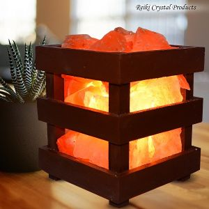 Himalayan Rock Salt Lamp Wooden Basket