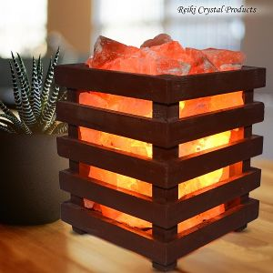 Wooden Basket Himalayan Rock Salt Lamp
