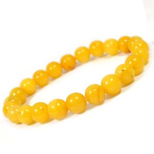 Yellow Jade 8 mm Round Bead Bracelet
