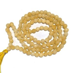 Yellow Aventurine 8 mm Diamond Cut Mala & Necklace