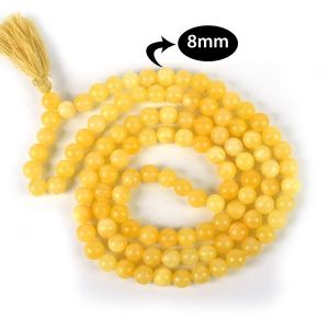 Yellow Aventurine 8 mm Round Bead Mala & Necklace (108 Beads & 32 Inch Approx)