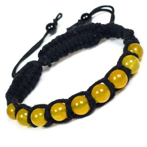 Yellow Jade Bracelet 8mm Beads Thread Bracelet