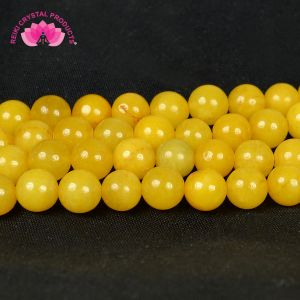Natural Yellow Jade 8 mm Crystal Stone Round Loose Beads