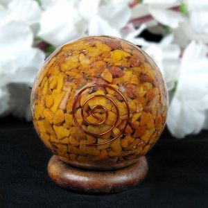 Yellow Jasper Orgone / Orgonite Ball - Sphere