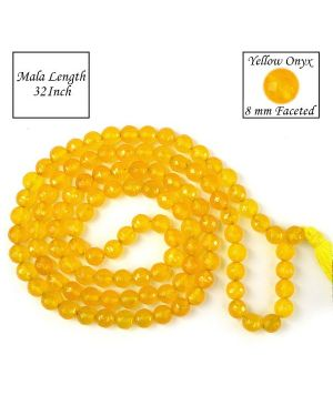 Yellow Onyx 8 mm Faceted Bead Mala