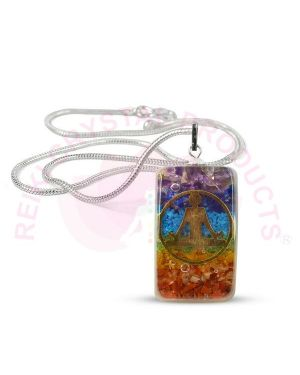 7 Chakra Orgone / Orgonite Pendant With Silver Polished Metal Chain
